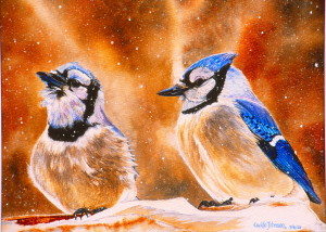 Paintings- Cecilia Johnson Winter Jays